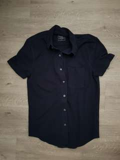 Abercrombie & Fitch navy blue short sleeve shirt