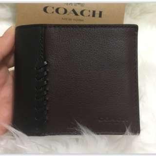 Authentic Original Coach Men 's Leather Bifold Wallet Readystock