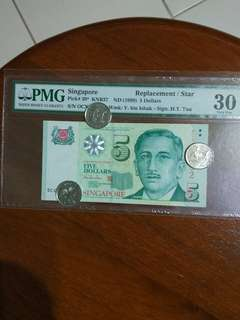 0CX Sg $5 Replacement PMG OCX