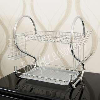 Rak Piring 2 susun stainless ( S shape dish rack drainer plate bowl