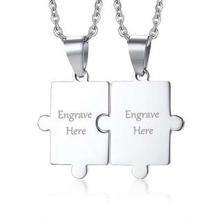 [SALES]🔳PERSONALIZED|CUSTOMIZED ENGRAVING COUPLE PUZZLE STAINLESS STEEL NECKLACE CUSTOMIZED JEWELRY🔳
