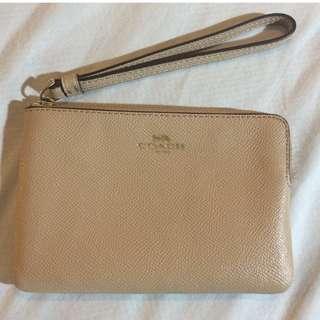 Preowned Coach Saffiano Corner Zip Wristlet Wallet Clutch NUDE COLOR
