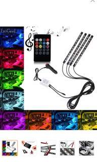 LED Car Strip Light 4 Pieces Waterproof Interior Underdash Lighting Kit With Wireless Remote Control