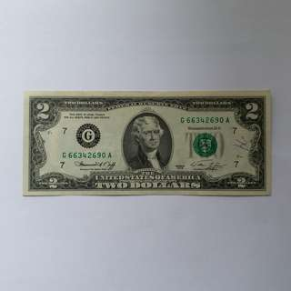 【錢幣收藏】United States of America 2 dollar bill