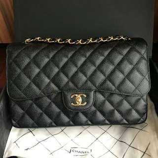 PRELOVED SUPER LIKE NEW‼ Chanel Jumbo Black Caviar GHW #15