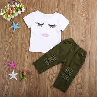 Instock - 2pc eyelash set, baby infant toddler girl children glad cute 123456789 lalalala