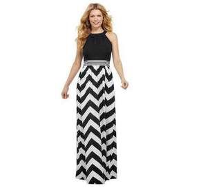 Zigzag Print Maxi Dress - COD