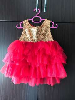 Red Gold sequin princess dress tutu