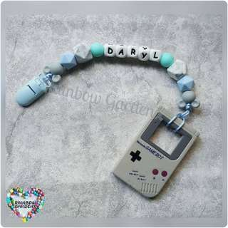 Customized Pacifier Clip with letter beads + Grey Gameboy Teether