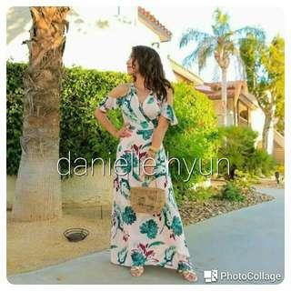 🌞Cold shoulder  Floral  Maxi dress