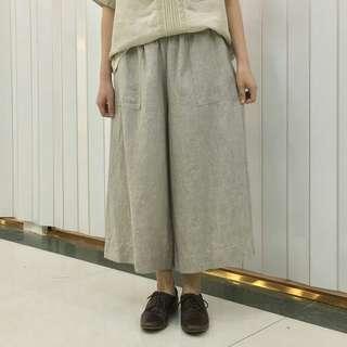 🚚 日本🌹Marque de BRODEUSES 個性口袋亞麻 鬆緊腿裙褲