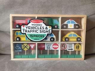 Melissa & Doug Wooden Vehicles & Traffic Signs 木車仔路牌