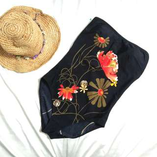 Black Floral One Piece Padded Swimsuit