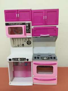 Kitchen Cabinet Toy with Gas Stove, Microwave Oven Toy Available