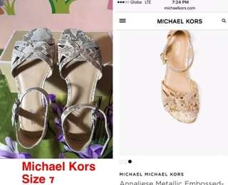 Bnew and Authentic Michael Kors Annaliese Metallic Embossed Leather Sandal