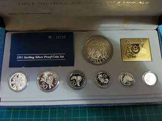 1991 Sterling silver proof coin set