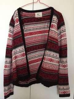 Red winter cardigan