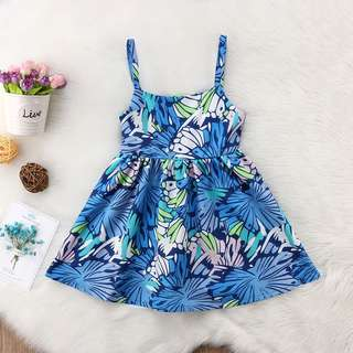 Instock - blue floral dress, baby infant toddler girl children glad cute 123456789 lalalala