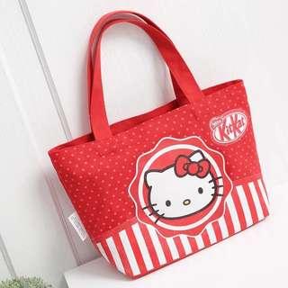 可愛 hello kitty x kit kat 貓咪加厚帆布袋便當袋飯盒袋便當袋