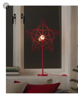 Ikea Strala LED Table Lamp Star Red (26 inch)