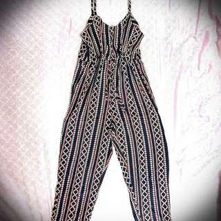 Cotton Strap & Striped Jumpsuit
