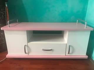 Pink & White Tv Stand w/ Cabinet!