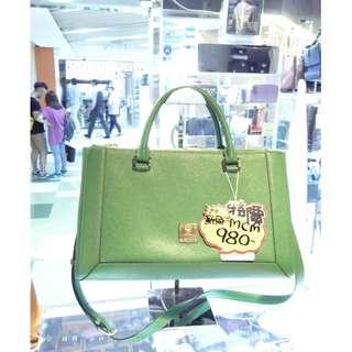 MCM Green Leather Shoulder Hand Bag 綠色 牛皮 皮革 手挽袋 手袋 肩袋 袋