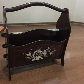 Mother of pearl rosewood magazine rack