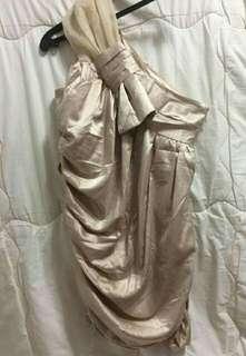 MURUA  One Shoul  Ribbon Dress, Beige