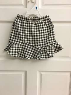 經典黑白格荷葉邊短裙
