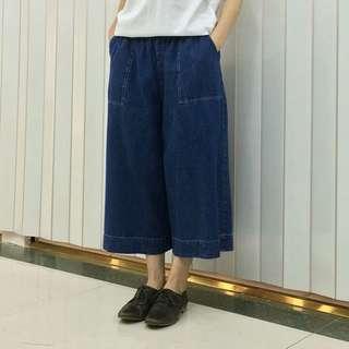 🚚 🌹日本Marque de BRODEUSES 純棉鬆緊腰牛仔褲裙,寬褲