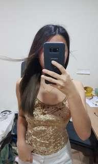Gold backless bodysuit