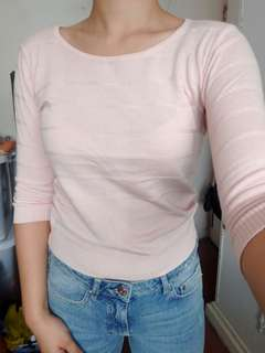 Pink knit 3/4 top