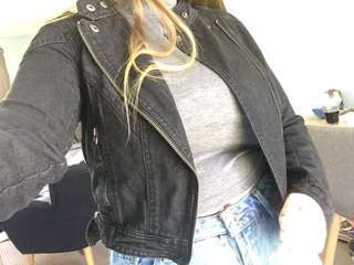 Black Biker Style Denim Jacket