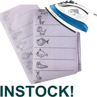 Animal Iron on Name Labels 100pcs for school- Self Write Labels