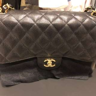 Chanel double flap caviar jumbo black and gold hardware
