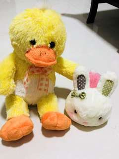 soft toy duck and cutie pink soft toy