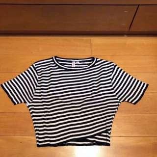 *全新* 綿質黑白間條短身上衣 Crop Top
