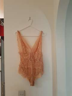 Wildfire nude/peach lace bodysuit