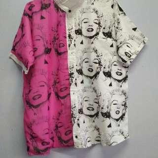 Celebrity Art Work Button Up Shirt