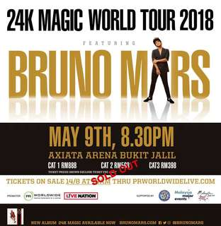 [FOR SALE] Bruno Mars 24k MAGIC TOUR 2018 Live in KL