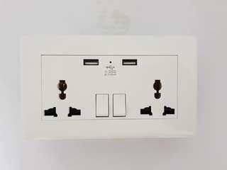Power Socket with 2.1 Amp USB Ports