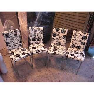 尚典中古家具(二手家具)~中古餐椅(二手皮餐椅) 白色花樣皮餐椅組