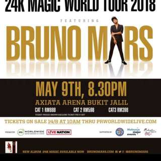 Bruno Mars 24K Concert in KL - Cat 3