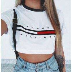 Tommy h crop shirt