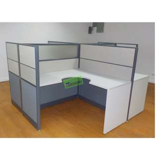 L TYPE WORKSTATION W PARTITION(fabric W glass)mobile cabinet