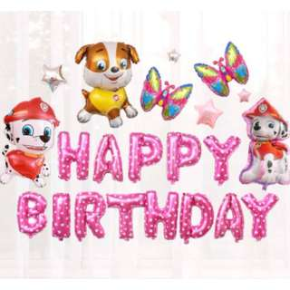 (In stock) Paw Patrol Party Decoration Set-Happy Birthday-Pink