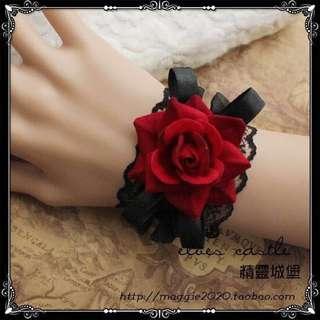 lolita哥特女王吸血鬼洛可可紅玫瑰精緻復古風格蕾絲手環手鏈腕飾