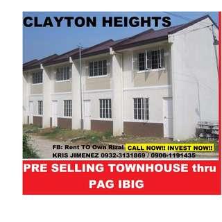 Clayton Heights Pres selling townhouse thru pag ibig. WAG na MANGUPAHAN! KUNG iKAW ay PAG IBIG MEMBER PWEDE SAYO ITO!!