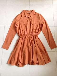 橙啡色仿雪紡長袖連身裙